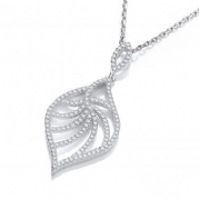 "J-Jaz Micro Pave' Leaf Shape Cz Pendant with 18"" Chain"